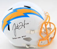 "Justin Herbert Signed Chargers Full-Size Speed Helmet Inscribed ""2020 NFL ROY"" (Beckett COA) (See Description) at PristineAuction.com"