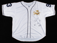 Baseball Jersey Cast-Signed by (6) with Tom Guiry, Chauncey Leopardi, Marty York, Shane Obedzinski, Victor DiMattia, & Brandon Adams With Multiple Inscriptions (Beckett COA) (See Description) at PristineAuction.com