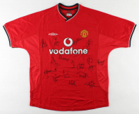 Manchester United Jersey Team-Signed By (17) With David Beckham, Teddy Sherringham, Ryan Giggs, Dwight Yorke, Ole Gunnar Solskjaer, Jonathan Greening, Fabian Barthez, Robbie Keane, Paul Sholes, Wes Brown, Ronnie Wallwork & Ronny Johnsen (JSA LOA) at PristineAuction.com
