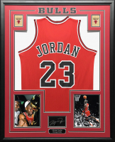 Michael Jordan 34.5x42.5 Custom Framed Jersey Display at PristineAuction.com
