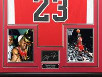 Michael Jordan 34.5x42.5 Custom Framed Jersey Display at PristineAuction.com