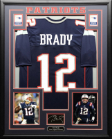Tom Brady 34.5x42.5 Custom Framed Jersey Display at PristineAuction.com