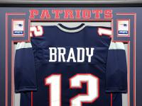 Tom Brady 34.5x42.5 Custom Framed Jersey Display at PristineAuction.com