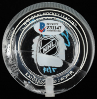 Brent Burns Signed 2019 NHL All-Star Game - Crystal Hockey Puck - Filled with Ice from the 2019 NHL All-Star Game (Beckett COA) (See Description) at PristineAuction.com