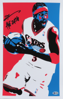 "Allen Iverson Signed 76ers 11x17 Photo Inscribed ""HOF 2K16"" (Beckett COA) (See Description) at PristineAuction.com"