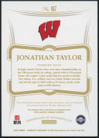 Jonathan Taylor 2020 Panini Flawless Collegiate #167 JSY Autograph RC at PristineAuction.com