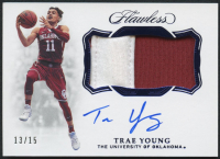 Trae Young 2018-19 Panini Flawless Autographs Sapphire #49 at PristineAuction.com