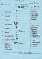 Don Mattingly Signed Marlins Batting Order Lineup Card (Beckett COA) at PristineAuction.com