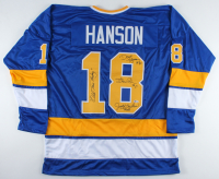"Dave Hanson, Steve Carlson & Jeff Carlson Signed Jersey Inscribed ""Old Time Hockey"" (Beckett COA) at PristineAuction.com"