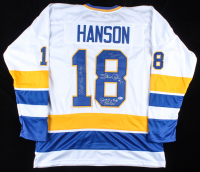 """Dave Hanson, Steve Carlson & Jeff Carlson Signed Jersey Inscribed """"Old Time Hockey"""" (Beckett COA) at PristineAuction.com"""