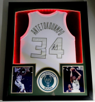 Giannis Antetokounmpo Signed 32x41 Custom Framed Jersey Display with LED Lights (JSA COA) at PristineAuction.com