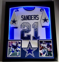 Deion Sanders Signed 32x41 Custom Framed Jersey Display with LED Lights (Beckett COA) at PristineAuction.com