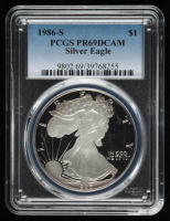 1986-S American Silver Eagle $1 One Dollar Coin (PCGS PR69 Deep Cameo) at PristineAuction.com