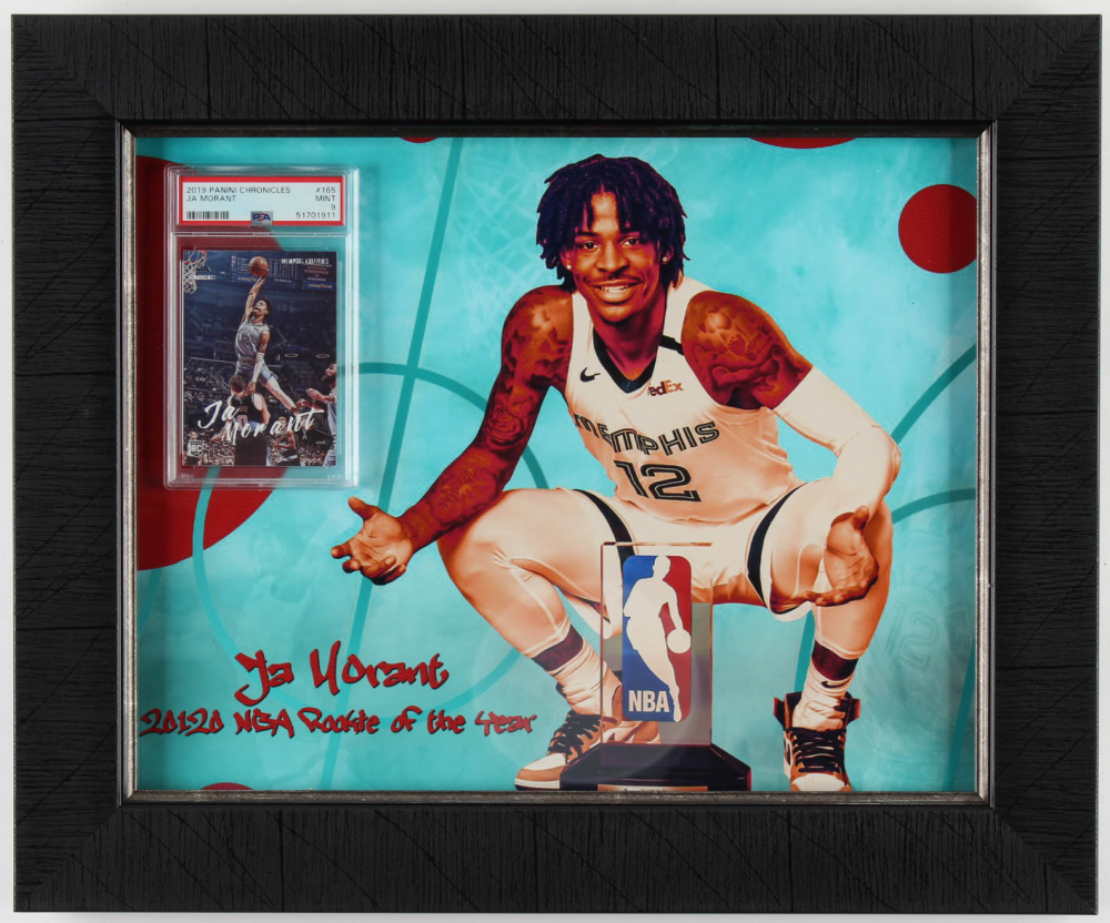 Ja Morant 14.5x17.5 Custom Framed Card Display (PSA 9) at PristineAuction.com