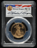 2001-W $25 Gold Eagle Half Ounce $25 Gold Coin - Michael Reagan Signed Label (PCGS PR69 Deep Cameo) at PristineAuction.com
