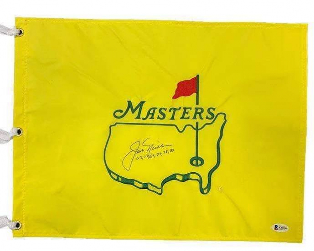 "Jack Nicklaus Signed Masters Golf Pin Flag Inscribed ""63, 65, 66, 72, 75, 86"" (Beckett LOA) at PristineAuction.com"