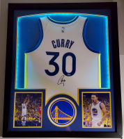 Stephen Curry Signed 32x41 Custom Framed Nike Jersey Display with LED Lights (Fanatics Hologram) at PristineAuction.com