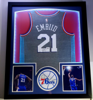 Joel Embiid Signed 32x41 Custom Framed Jersey Display with LED Lights (Fanatics Hologram) at PristineAuction.com