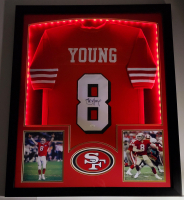 Steve Young Signed 32x41 Custom Framed Jersey Display with LED Lights (JSA COA) at PristineAuction.com