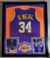 Shaquille O'Neal Signed 32x41 Custom Framed Jersey Display with LED Lights (JSA Hologram) at PristineAuction.com