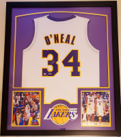Shaquille O'Neal Signed 32x41 Custom Framed Jersey Display with LED Lights (Beckett Hologram) at PristineAuction.com