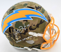 "Justin Herbert Signed Chargers Full-Size Camo Alternate Speed Helmet Inscribed ""2020 NFL ROY"" (Beckett COA) at PristineAuction.com"
