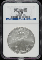 2007 American Silver Eagle $1 One Dollar Coin - Early Releases (NGC MS69) at PristineAuction.com