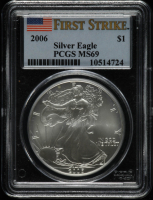 2006 American Silver Eagle $1 One Dollar Coin - First Strike (PCGS MS69) at PristineAuction.com