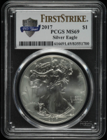 2017 American Silver Eagle $1 One Dollar Coin - First Strike, 225th Anniversary (PCGS MS69) at PristineAuction.com