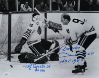 "Bobby Hull & Tony Esposito Signed Blackhawks 11x14 Photo Inscribed ""HOF 1988"" & ""HOF 1983"" (JSA COA) at PristineAuction.com"