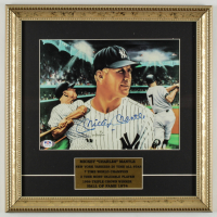 Mickey Mantle Signed Yankees 13.5x14 Custom Framed Art Print Display (PSA LOA) at PristineAuction.com