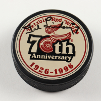 Ted Lindsay Signed Red Wings 75th Anniversary Logo Hockey Puck (PSA COA) at PristineAuction.com