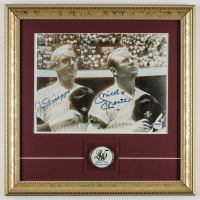 Mickey Mantle & Joe DiMaggio Signed Yankees 14x14 Custom Framed Display with a 25 World Series Championships Pin (PSA LOA) at PristineAuction.com