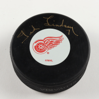 Ted Lindsay Signed Red Wings Logo Hockey Puck (PSA Hologram) at PristineAuction.com