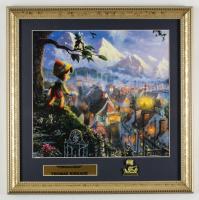 "Thomas Kinkade ""Pinocchio"" 16x16 Custom Framed Print Display With Brass Pinocchio Pin at PristineAuction.com"