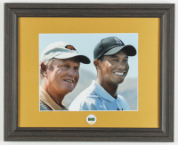 """Tiger Woods & Jack Nicklaus """"The Masters"""" 13.25x16.25 Custom Framed Photo Display with Masters Tournament Pin at PristineAuction.com"""
