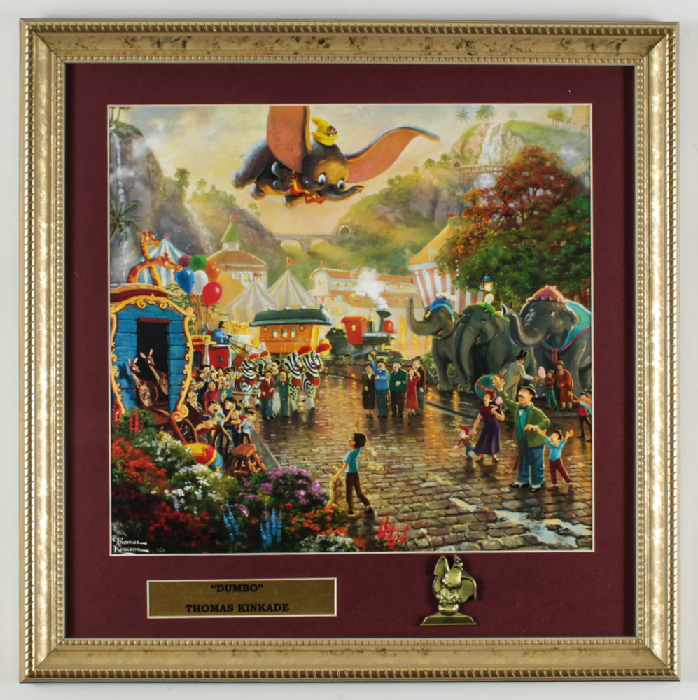 "Thomas Kinkade ""Dumbo"" 16x16 Custom Framed Print Display with Brass Dumbo Pin at PristineAuction.com"