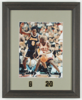 """Kobe Bryant vs. Michael Jordan"" 13.25x16.25 Custom Framed Photo Display with Jersey Number Pins at PristineAuction.com"