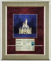 "Walt Disney's ""Disneyland"" 10x12 Custom Framed Display with Vintage Ceramic ""Sleeping Beauty"" Castle & 1960's Vintage Ticket at PristineAuction.com"