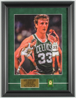 Larry Bird Celtics 12x15.5 Custom Framed Textured Art Print Display with Jersey Retirement Pin at PristineAuction.com