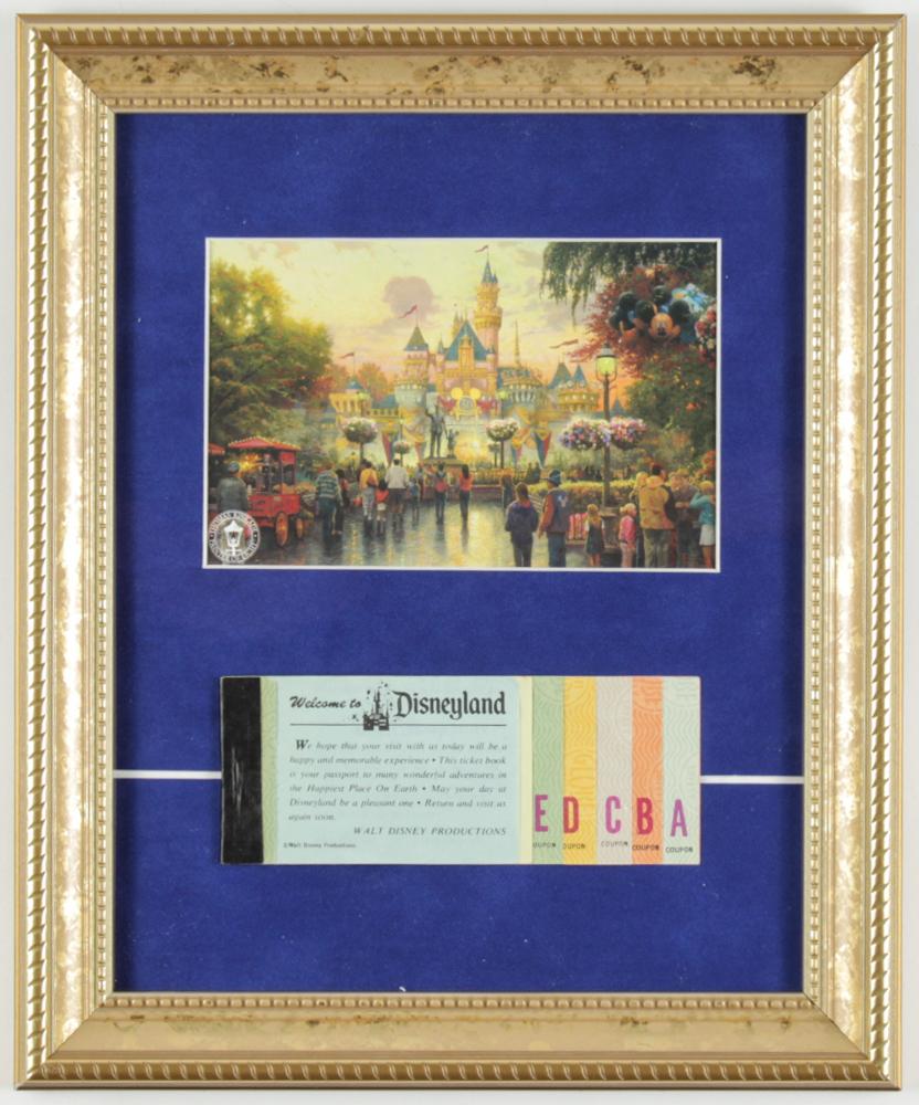 "Thomas Kinkade ""Disneyland"" 9.5x12 Custom Framed Print Display With Vintage Ticket Book at PristineAuction.com"