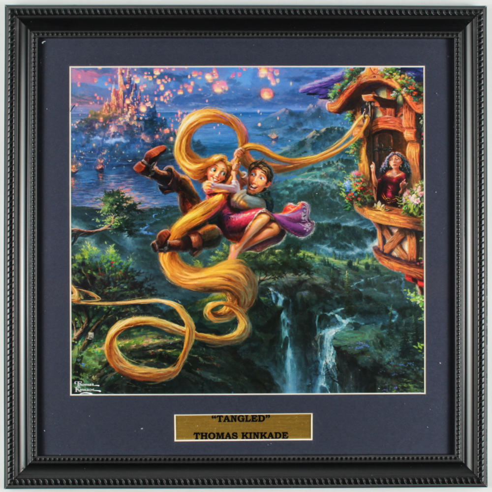 "Thomas Kinkade Walt Disney's ""Tangled"" 16x16 Custom Framed Print Display at PristineAuction.com"