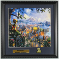 "Thomas Kinkade ""Pinocchio"" 16x16 Custom Framed Print Display With Brass Pinocchio Pin at PristineAuction.com"
