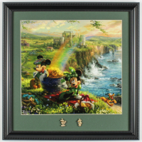 "Thomas Kinkade ""Mickey & Minnie Mouse"" 16x16 Custom Framed Print Display with (2) Brass Mickey & Minnie Pins at PristineAuction.com"