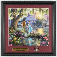"Thomas Kinkade ""The Princess & The Frog"" 16x16 Custom Framed Print Display with (1) Princess Tiana Pin at PristineAuction.com"