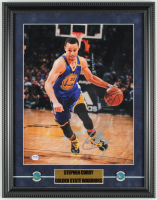 Stephen Curry Signed Warriors 15x19 Custom Framed Photo Display with (2) Golden State Warriors Logo Pins (PSA COA) at PristineAuction.com