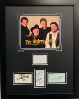 """The Highwaymen"" 16x20 Custom Framed Cut Display Signed by (4) with Johnny Cash, Waylon Jennings, Kris Kristofferson & Willie Nelson (JSA LOA & JSA COA) at PristineAuction.com"