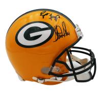 Brett Favre & Sterling Sharpe Signed Green Bay Packers Full-Size Authentic On-Field Helmet (Radtke COA) at PristineAuction.com