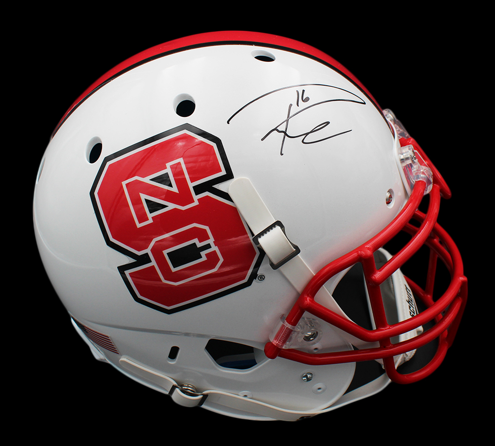 Russell Wilson Signed NC State Wolfpack Full-Size Authentic On-Field Helmet (Wilson Hologram) at PristineAuction.com