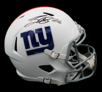 Saquon Barkley Signed Giants Full-Size Matte White Speed Helmet (Fanatics Hologram) at PristineAuction.com